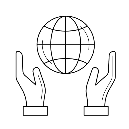 Hands support earth globe vector line icon isolated on white background. Green peace concept. Earth care line icon for infographic, website or app.