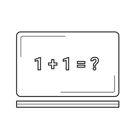 Blackboard with math task vector line icon isolated on white background. One plus one equation on the blackboard line icon for infographic, website or app. Illustration