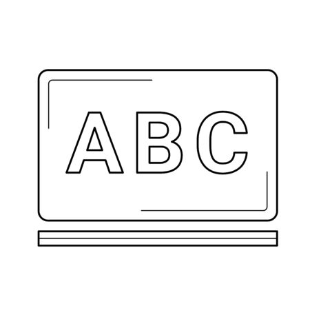 School chalkboard with abc letters vector line icon isolated on white background. Vocabulary on school chalkboard line icon for infographic, website or app. Icon designed on a grid system.