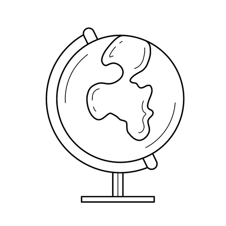 World globe vector line icon isolated on white background. School world globe line icon for infographic, website or app. Icon designed on a grid system.