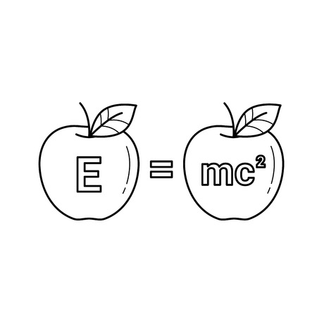 E equal mc 2 vector line icon isolated on white background. Physics formula - e equal mc 2 line icon for infographic, website or app. Imagens - 97357834