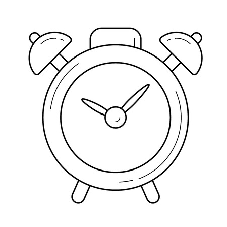 Alarm clock line icon isolated on white background. Vector line icon of alarm clock for infographic, website or app.