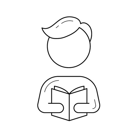 Man with a book in hands line icon for infographic, website or app.
