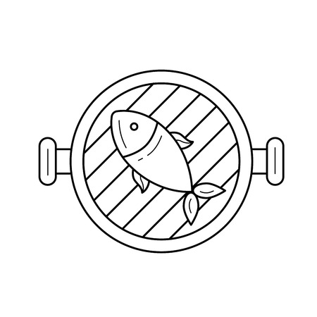Fish grill line icon isolated on white background. Vector line icon of fish on a grill pan for infographic, website or app. Icon designed on a grid system.