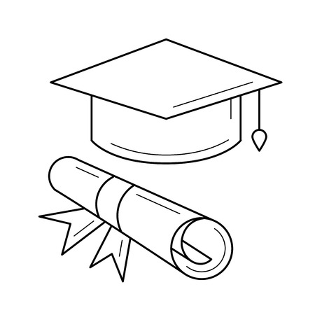 Cap of graduate and certificate degree line icon isolated on white background. Vector line icon of graduation cap and degree certificate for infographic, website or app.