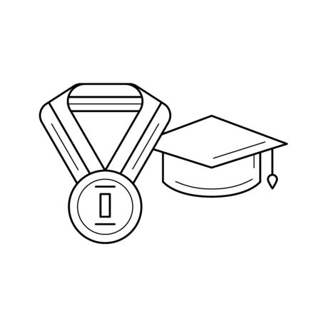 Best student vector line icon isolated on white background. Graduation cap and medal of best student line icon for infographic, website or app. Ilustração