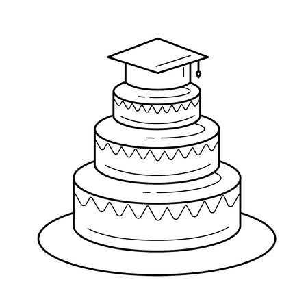 Graduation party vector line icon isolated on white background. Layered cake in graduation cap line icon for infographic, website or app. Illustration
