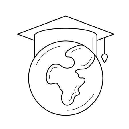 Wereldbol in afstuderen cap vector lijn pictogram geïsoleerd op een witte achtergrond. Afstudeer hoed op de wereldbol lijn pictogram voor infographic, website of app. Studeren in het buitenland concept. Stock Illustratie