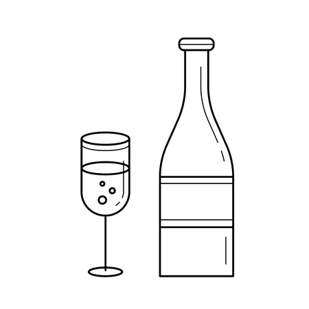 Celebration vector line icon isolated on white background. Champagne bottle and glass for celebration party line icon for infographic, website or app. Illustration