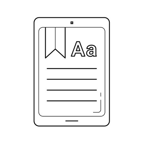 Ebook line icon isolated on white background. Vector line icon of ebook for infographic, website or app. Concept of online education and e-learning. Ilustração