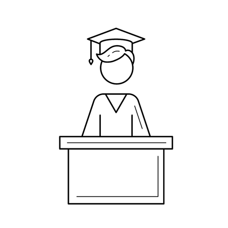 University graduation student vector line icon isolated on white background. Student giving a speech at the graduation of university line icon for infographic, website or app.