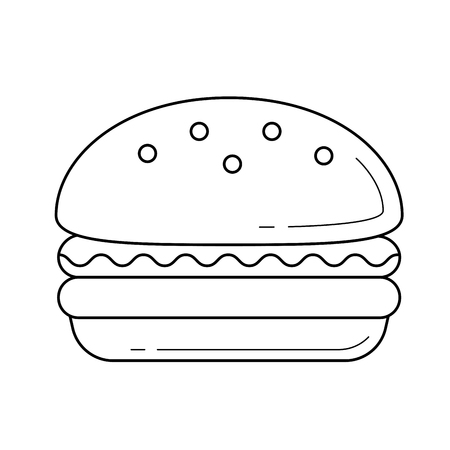 Burger wektor ikona linia na białym tle. Ikona linii Hamburger infografikę, strony internetowej lub aplikacji. Koncepcja fast food z grilla. Ilustracje wektorowe