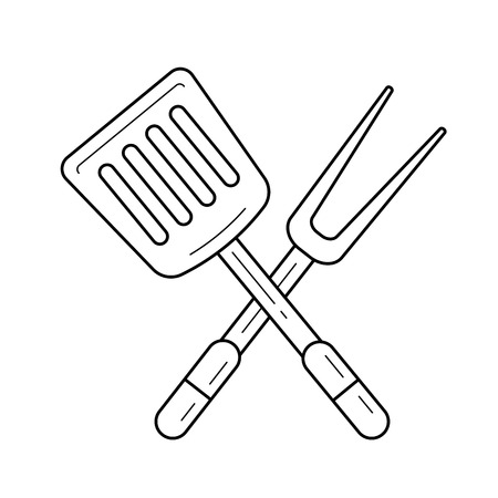 BBQ tools line icon isolated on white background. 向量圖像