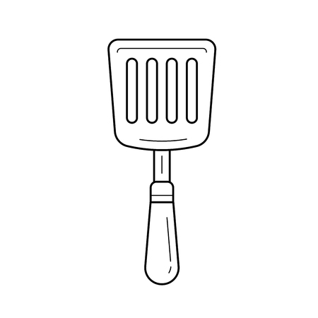 Kitchen spatula vector line icon isolated on white background. Spatula - kitchen utensils line icon for infographic, website or app.
