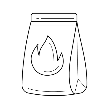 Grill charcoal vector line icon isolated on white background. Paper bag with charcoal for grill line icon for infographic, website or app.