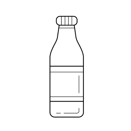 Bottle of soft drink vector line icon isolated on white background. Water in a glass bottle line icon for infographic, website or app. 版權商用圖片 - 97550693