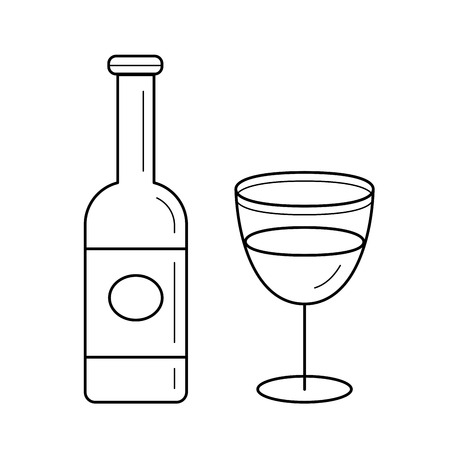 Wine bottle line icon isolated on white background. Vector line icon of bottle and glass of wine for infographic, website or app.