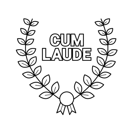 Laurel wreath with cum laude text vector line icon isolated on white background. College emblem - laurel wreath line icon for infographic, website or app. Illustration