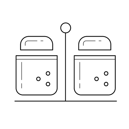 Salt and pepper vector line icon isolated on white background. Kitchen stand for pepper and salt line icon for infographic, website or app. Çizim