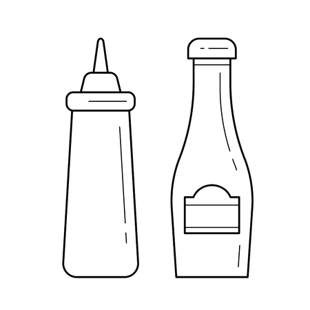 Ketchup and mustard vector line icon isolated on white background. Bottles with sauces - ketchup and mustard line icon for infographic, website or app. Icon designed on a grid system.