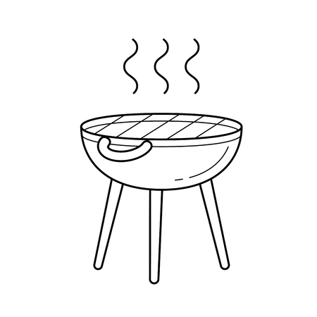 BBQ grill vector line icon isolated on white background. Kettle barbecue grill line icon for infographic, website or app.