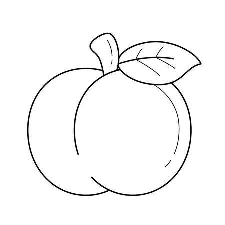 Una ilustración de vector de icono de línea de una fruta de manzana, aislada sobre fondo blanco, para infografía, sitio web o aplicación. Foto de archivo - 97576745