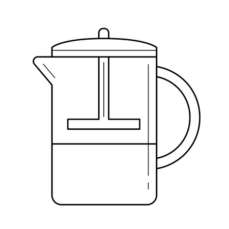 French press coffee maker vector linear icon isolated on white background.