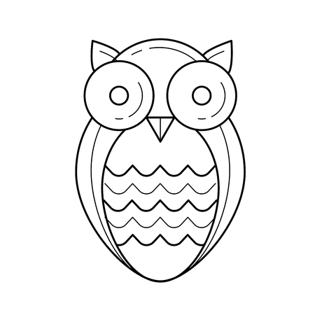 Wisdom owl, hand-drawn vector linear icon isolated on white background.