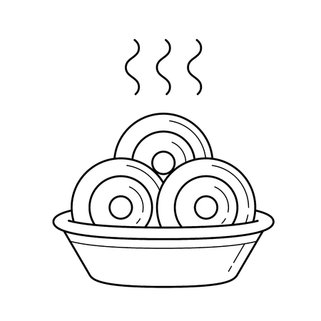 Bowl of hot dumplings with steam line icon vector, isolated on white background, for infographic, website or app.  イラスト・ベクター素材