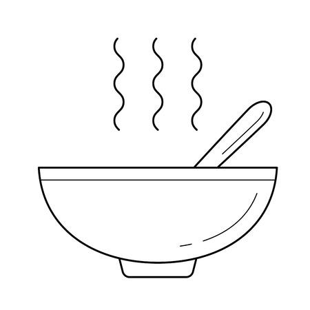 Schüssel der Linie Ikonenvektor der heißen Suppe, lokalisiert auf weißem Hintergrund, für infographic, Website oder APP. Standard-Bild - 97581165