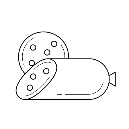 A piece of salami wurst line icon vector isolated on white background for infographic, website or app. Stock Illustratie