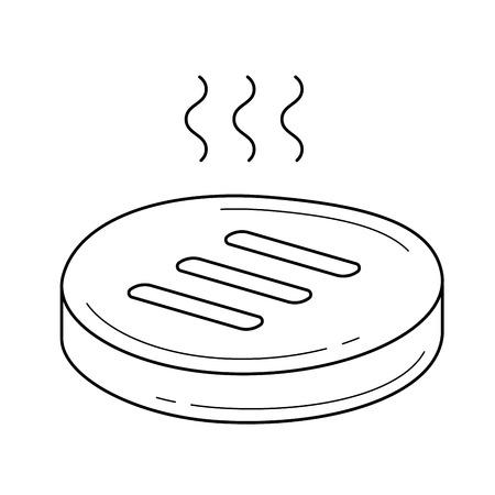 Bistecca di manzo con fumo nel vettore icona lineare, isolato su sfondo bianco. per infografica, sito Web o app.