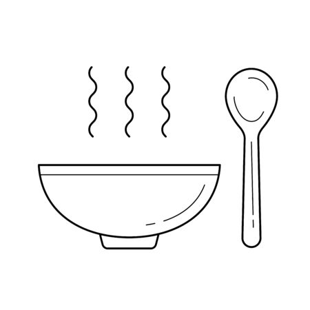 Bowl of Hot soup with spoon vector line icon isolated on white background for infographic, website or app.