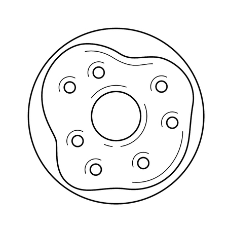 A Vector line icon of a glazed doughnut, isolated on white background for infographic, website or app.  イラスト・ベクター素材