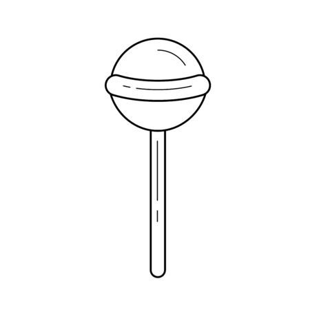 A hand-drawn illustration of lollipop linear icon isolated on white background for infographic, website or app.
