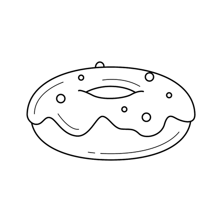 A hand-drawn illustration of Doughnut in linear icon isolated on white background for infographic, website or app.