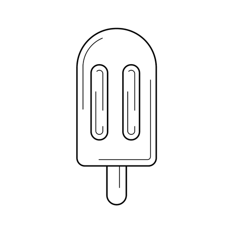 Hand-drawn linear illustration of a pop stick isolated on white background. Ilustração