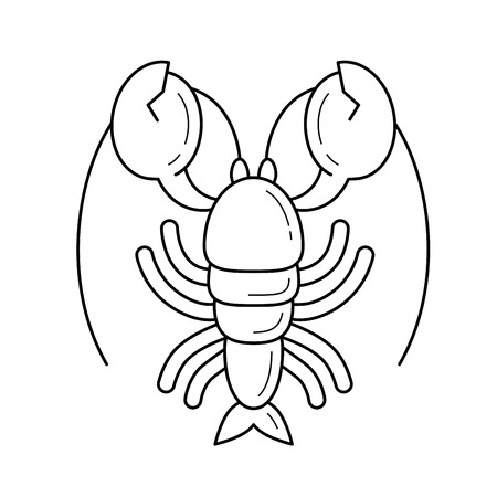 A vector line icon of hand-drawn lobster or cancer symbol isolated on white for infographic, website or app.