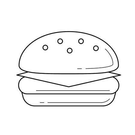 Hand-drawn vector linear icon of Burger isolated on white background for infographic, website or app. Grilled fast food concept.