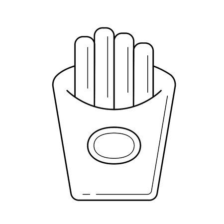 French fries, a hand-drawn vector linear icon isolated on white background.