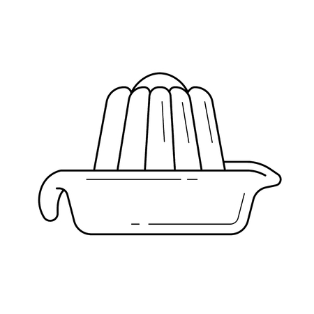Lemon squeezer vector line icon isolated on white background. Equipment for making citrus juice - lemon squeezer line icon for infographic, website or app.