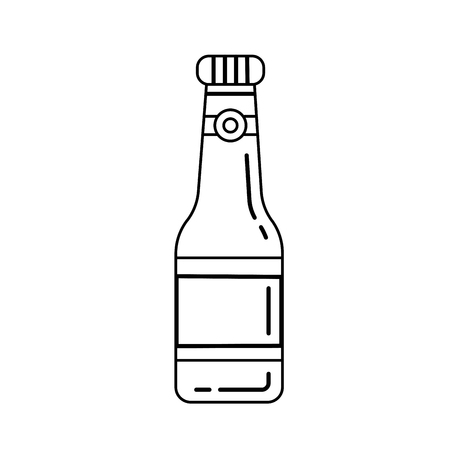 Beer bottle vector line icon isolated on white background. Vector line icon of craft beer bottle for infographic, website or app.