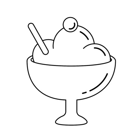 Ice-cream vector line icon isolated on white background. Cup of decorated ice-cream sorbet line icon for infographic, website or app. Çizim