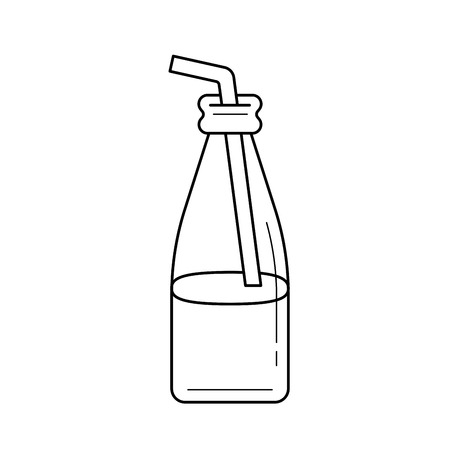 Glass bottle of milkshake with straw vector line icon isolated on white background. Take away milkshake line icon for infographic, website or app.