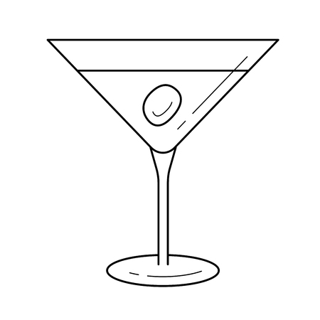 Liquor line icon isolated on white background. Vector line icon of martini liquor with olive for infographic, website or app. Illustration