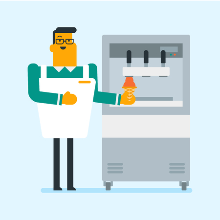 Young caucasian white man holding waffle cone with twisted ice cream from machine. Confectioner in chef uniform producing ice cream at the factory. Vector cartoon illustration. Square layout.