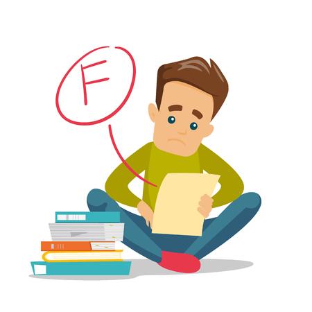 Estudiante blanco caucásico infeliz decepcionado por la prueba con grado F. Triste estudiante mirando el papel de prueba con mala marca. Concepto de educación Ilustración de dibujos animados de vectores aislado sobre fondo blanco.
