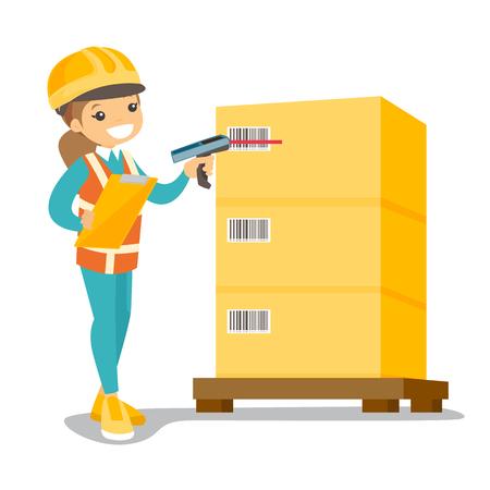 ボックス上の若い白人倉庫労働者スキャンバーコード。スキャナーでボックスのバーコードをチェックする倉庫スタッフ。ディストリビューションとストレージの概念。ベクター漫画のイラスト。正方形のレイアウト。