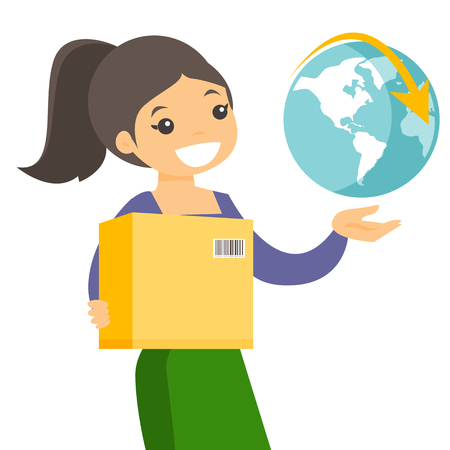 Young caucasian white woman holding box with parcel and world globe. International delivery service and global business concept. Vector cartoon illustration isolated on white background. Square layout Illustration