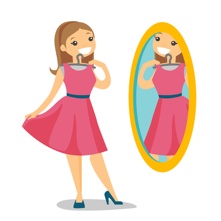 Caucasian white woman trying on dress and looking at herself in the mirror in the dressing room. Woman choosing clothes in the dressing room. Vector cartoon illustration isolated on white background. Illustration